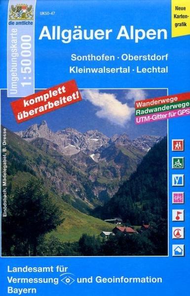 UK50-47 Allgäuer Alpen 9783899335439  LVA Bayern UmgebungsKarte 1:50.000  Wandelkaarten Beierse Alpen en München