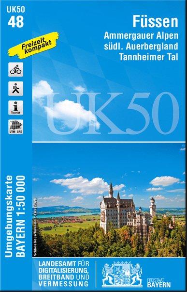 UK50-48  Füssen u. Umg., Ammergauer Alpen 9783899336092  LVA Bayern UmgebungsKarte 1:50.000  Wandelkaarten Beierse Alpen