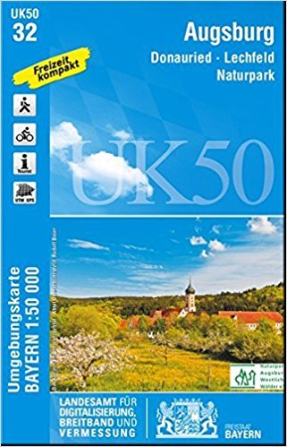 UK50-32 Augsburg 9783899336399  LVA Bayern UmgebungsKarte 1:50.000  Wandelkaarten Franken, Nürnberg, Altmühltal