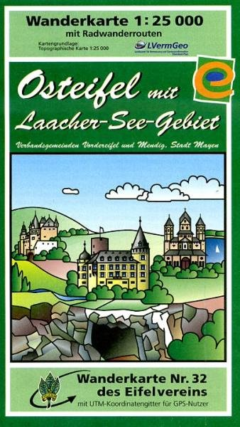 EV-32  Osteifel mit Laacher Seegebiet  | wandelkaart 1:25.000 9783921805633  Eifelverein Wandelkaarten Eifel  Wandelkaarten Eifel