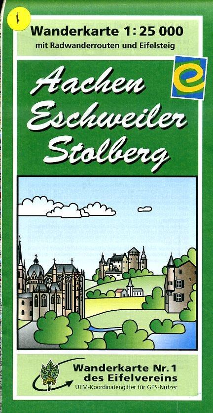 EV-01  Aachen - Eschweiler - Stolberg | wandelkaart 1:25.000 9783921805947  Eifelverein Wandelkaarten Eifel  Wandelkaarten Aken, Keulen en Bonn, Heidelberg, Kraichgau, Stuttgart, Neckar