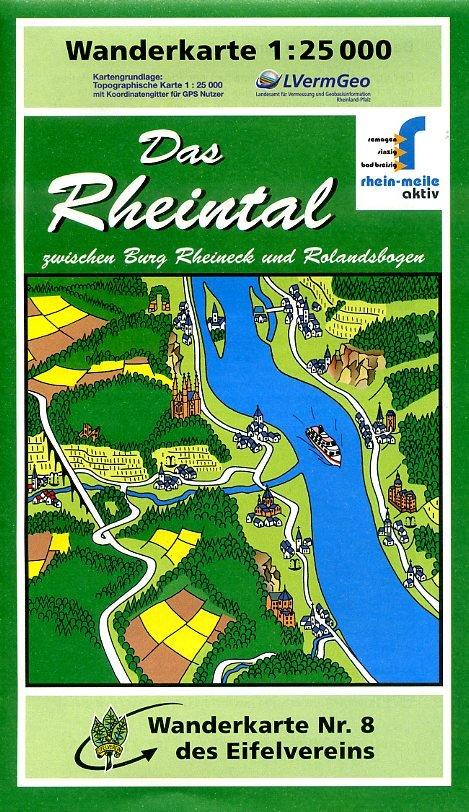 EV-08  Das Rheintal | wandelkaart 1:25.000 9783921805992  Eifelverein Wandelkaarten Eifel  Wandelkaarten Mittelrhein, Loreley, Westerwald