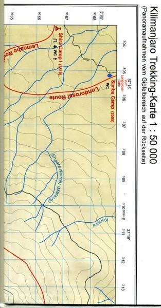 Kilimanjaro - Trekking Karte 1:50.000 9783922396345  Brigitte Rotter Verlag   Wandelkaarten Tanzania, Zanzibar