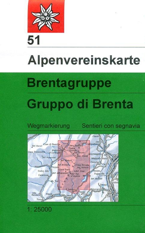 AV-51 Brentagruppe [2011] Alpenvereinskarte wandelkaart 9783928777049  AlpenVerein Alpenvereinskarten  Wandelkaarten Zuid-Tirol, Dolomieten