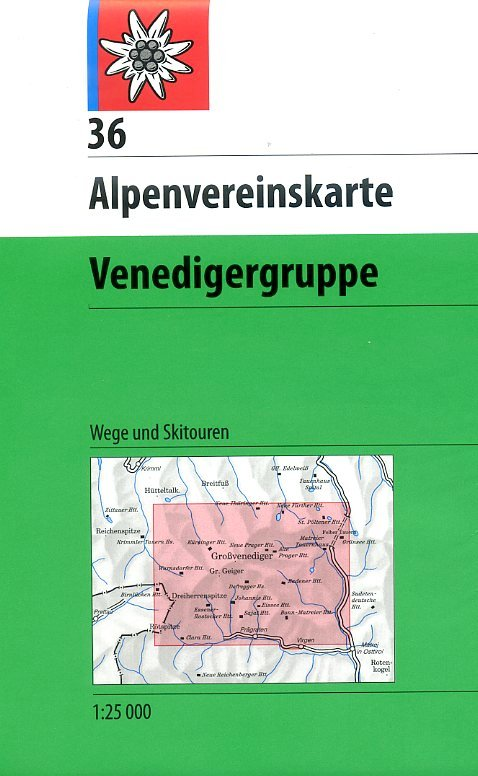 AV-36  Venedigergruppe [2014] Alpenvereinskarte wandelkaart 9783928777490  AlpenVerein Alpenvereinskarten  Wandelkaarten Salzburg, Karinthë, Tauern, Stiermarken