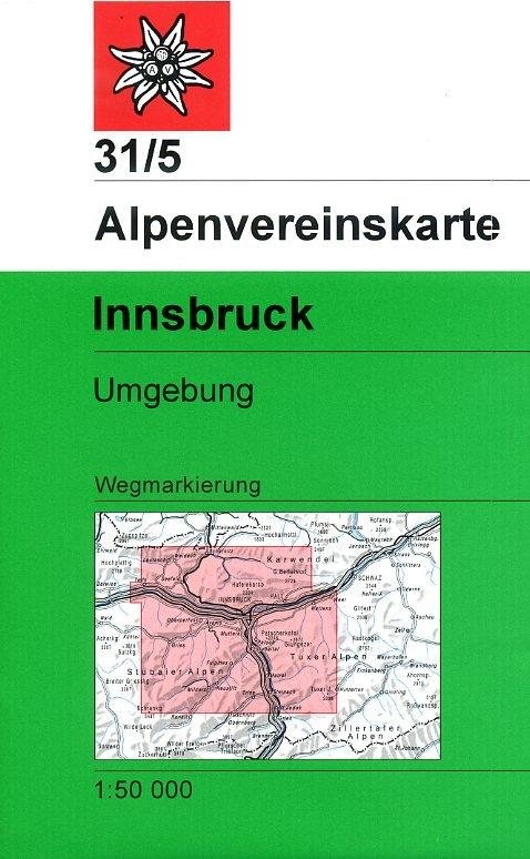 AV-31/5 Innsbruck Umgebung [2017] Alpenvereinskarte wandelkaart 9783928777537  AlpenVerein Alpenvereinskarten  Wandelkaarten Tirol & Vorarlberg