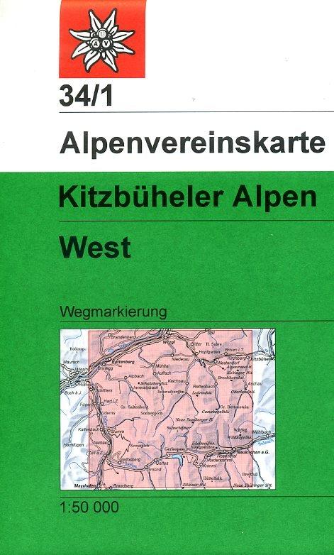 AV-34/1 Kitzbüheler Alpen/West [2018] Alpenvereinskarte wandelkaart 9783928777551  AlpenVerein Alpenvereinskarten  Wandelkaarten Tirol & Vorarlberg