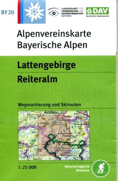 BY-20 Lattengebirge, Reiteralm 1:25.000 Alpenvereinskarte 9783937530253  Deutscher AlpenVerein Alpenvereinskarten  Wandelkaarten Beierse Alpen