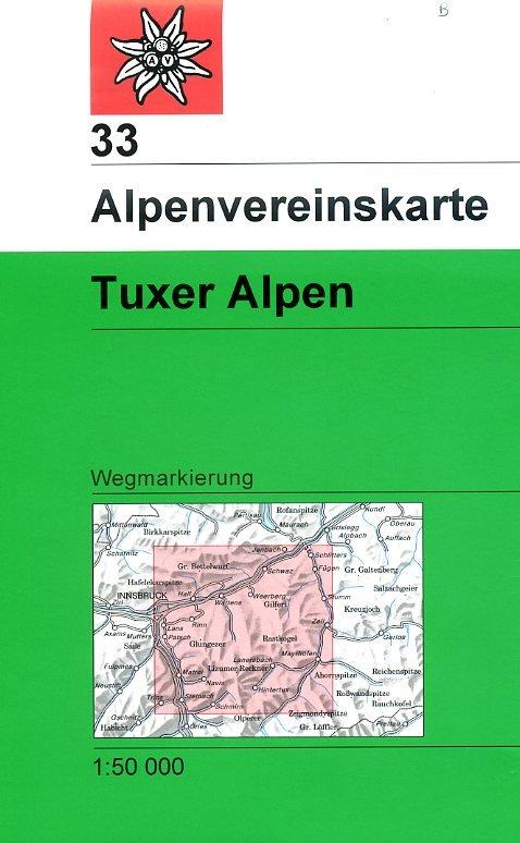 AV-33  Tuxer Alpen [2016] Alpenvereinskarte wandelkaart 9783937530475  AlpenVerein Alpenvereinskarten  Wandelkaarten Tirol & Vorarlberg