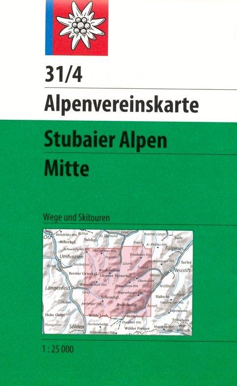 AV-31/4 Stubaier Alpen - Mitte [2017] Alpenvereinskarte wandelkaart 1:25.000 9783937530796  AlpenVerein Alpenvereinskarten  Wandelkaarten Tirol & Vorarlberg