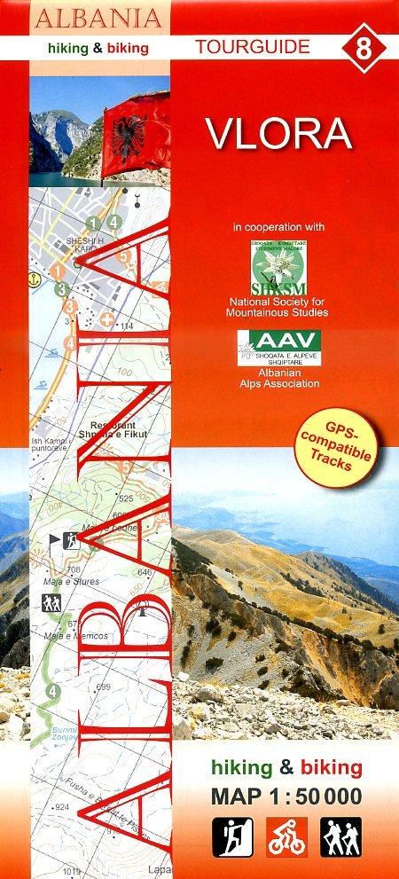 HA-08  Vlora | wandelkaart 9783943752144  Huber Verlag Albanië 1:50.000  Wandelkaarten Albanië