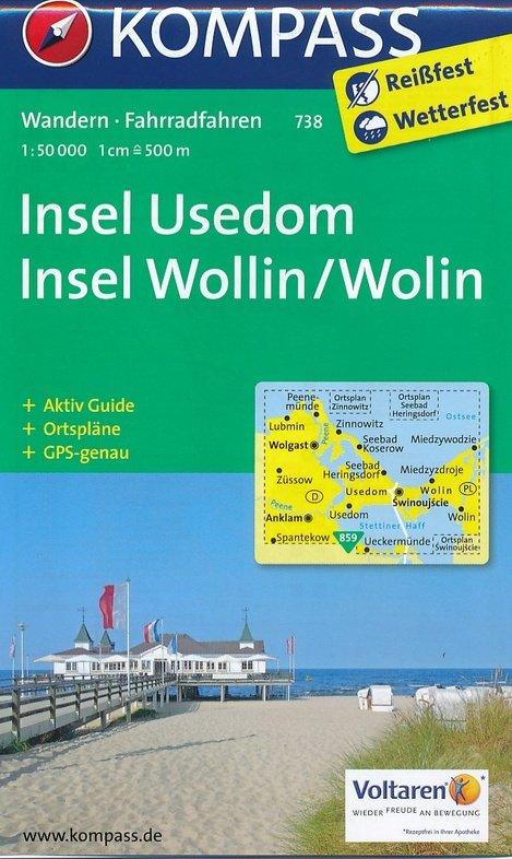 KP-738  Insel Usedom | Kompass wandelkaart 9783990440797  Kompass Wandelkaarten   Wandelkaarten Mecklenburg-Vorpommern, Rügen