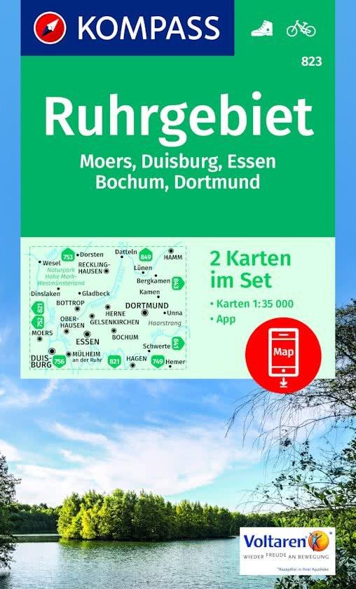 KP-823 Ruhrgebiet 1:35.000 - set van 2 kaarten 9783990442432  Kompass Wandelkaarten Kompass Duitsland  Wandelkaarten Ruhrgebied