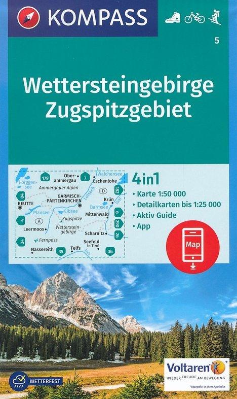 KP-5 Wettersteingebirge, Zugspitze   Kompass wandelkaart 9783990442579  Kompass Wandelkaarten   Wandelkaarten Beierse Alpen en München