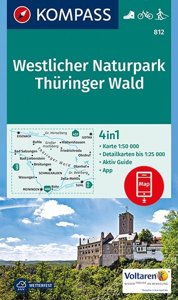KP-812  Thüringer Wald West 1:50.000 | Kompass 9783990442609  Kompass Wandelkaarten   Wandelkaarten Sachsen, Thüringen, Dresden