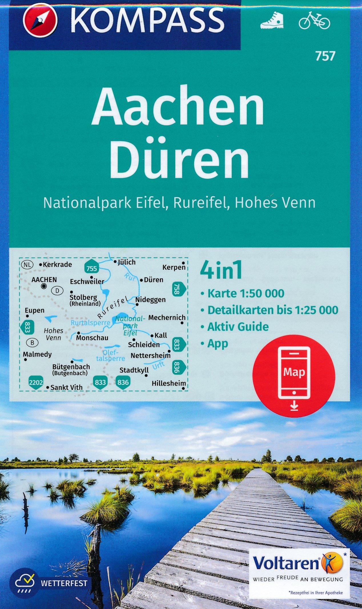 KP-757 Aachen Drielandenpunt | Kompass wandelkaart 9783990442722  Kompass Wandelkaarten   Wandelkaarten Eifel, Moezel, Rheinland-Pfalz