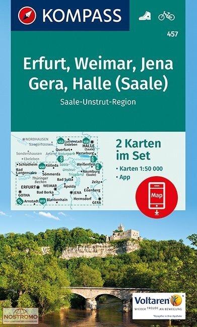 KP-457 Gotha, Erfurt, Weimar, Thüringer Becken   Kompass wandelkaart 9783990442739  Kompass Wandelkaarten Kompass Duitsland  Wandelkaarten Thüringen, Weimar, Rennsteig