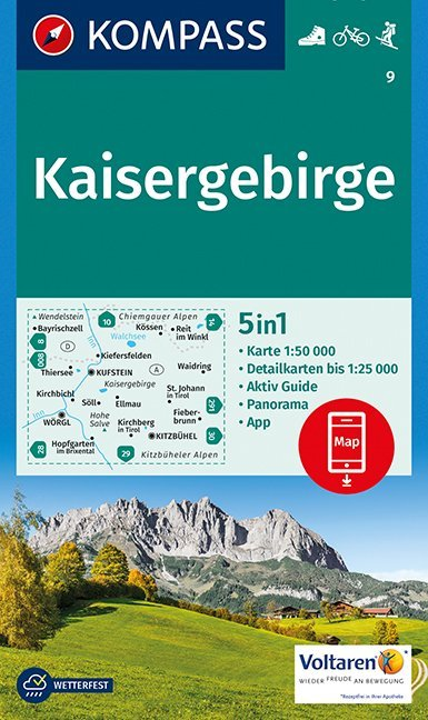 KP-9 Kaisergebirge | Kompass 9783990442791  Kompass Wandelkaarten   Wandelkaarten Tirol & Vorarlberg