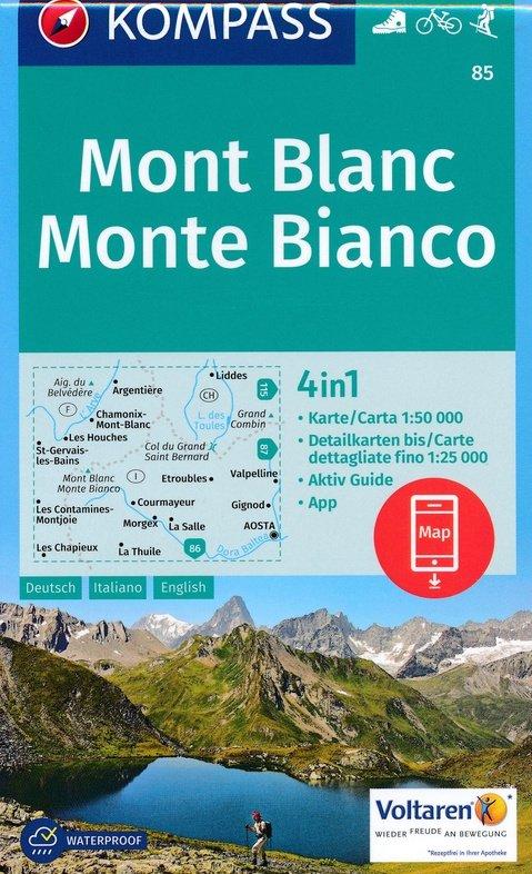 KP-85 Mont Blanc/Monte Bianco 1:50.000 | Kompass 9783990442937  Kompass Wandelkaarten   Wandelkaarten Ligurië, Piemonte, Lombardije