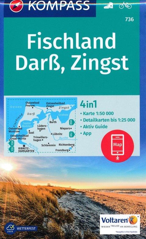 KP-736  Darss/Zingst | Kompass wandelkaart 9783990443088  Kompass Wandelkaarten Kompass Duitsland  Wandelkaarten Mecklenburg-Vorpommern