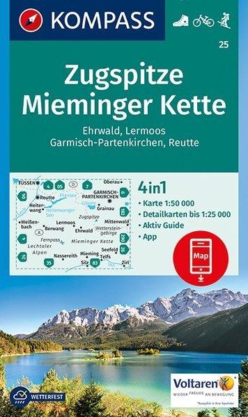 KP-25   Zugspitze, Miemingerkette | Kompass wandelkaart 9783990443101  Kompass Wandelkaarten   Wandelkaarten Tirol & Vorarlberg