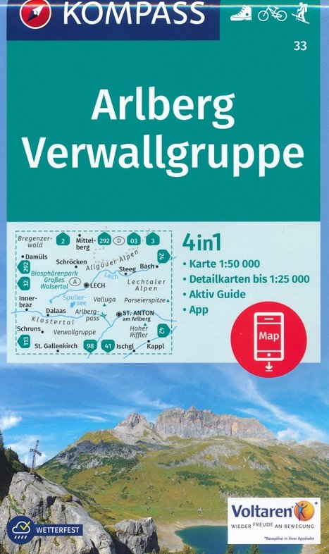 KP-33 Arlberg, Nördliche Verwallgruppe | Kompass wandelkaart 9783990443118  Kompass Wandelkaarten Kompass Oostenrijk  Wandelkaarten Tirol & Vorarlberg