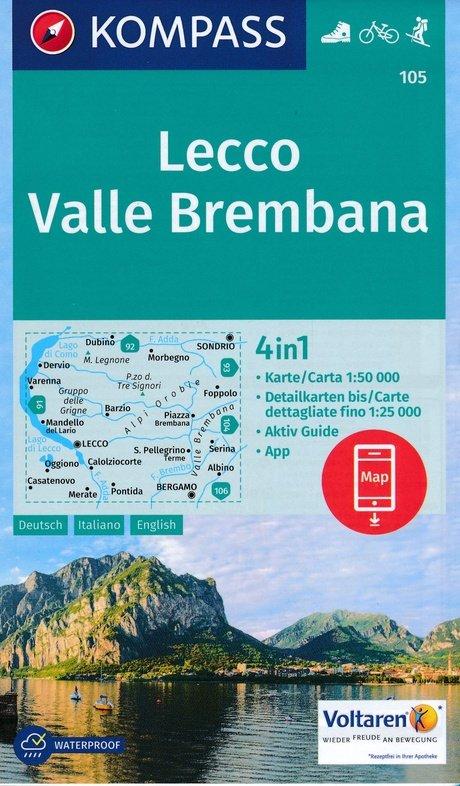 KP-105  Lecco/Valle Brembana   Kompass wandelkaart * 9783990443125  Kompass Wandelkaarten Kompass Italië  Wandelkaarten Milaan, Lombardije, Italiaanse Meren