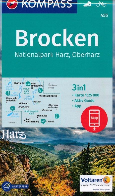 KP-455 Rund um den Brocken - Nationalpark Harz | Kompass wandelkaart 9783990443149  Kompass Wandelkaarten   Wandelkaarten Harz