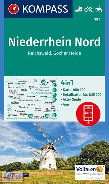 KP-752 Niederrhein Nord 1:50.000 | Kompass wandelkaart 9783990443163  Kompass Wandelkaarten   Lopen naar Rome, Wandelkaarten Niederrhein, Ruhrgebied, Keulen