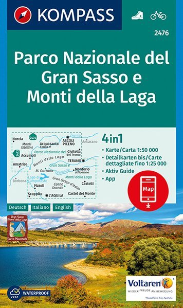 KP-2476  Gran Sasso d Italia 1:50.000   Kompass wandelkaart 9783990443217  Kompass Wandelkaarten Kompass Italië  Wandelkaarten Abruzzen en Molise