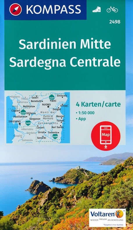 KP-2498 Sardinië, midden 1:50.000 (set van 4 kaarten) | Kompass wandelkaart 9783990443224  Kompass Wandelkaarten   Fietskaarten, Wandelkaarten Sardinië