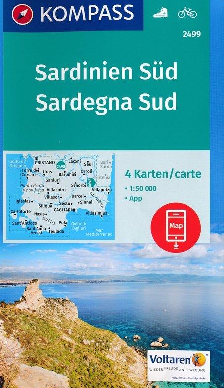 KP-2499 Sardinië, zuid  1:50.000 (set van 4 kaarten) | Kompass wandelkaart 9783990443231  Kompass Wandelkaarten   Fietskaarten, Wandelkaarten Sardinië