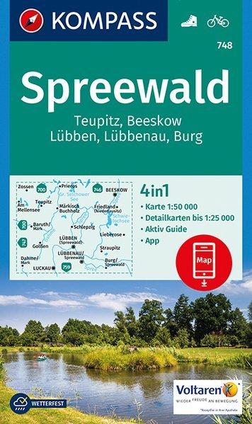 KP-748 Spreewald 1:50.000 9783990443286  Kompass Wandelkaarten   Wandelkaarten Berlijn, Brandenburg