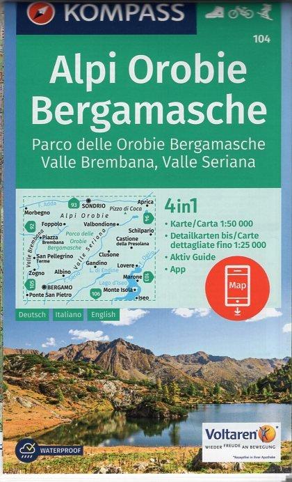KP-104  Alpi Orobie Bergamasche | Kompass wandelkaart 9783990443293  Kompass Wandelkaarten   Wandelkaarten Ligurië, Piemonte, Lombardije