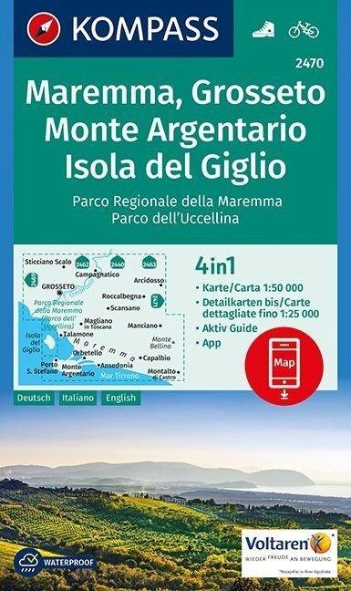 KP-2470 Maremma, Argentario 1:50.000 | Kompass wandelkaart 9783990443309  Kompass Wandelkaarten   Wandelkaarten Toscane, Umbrië, de Marken