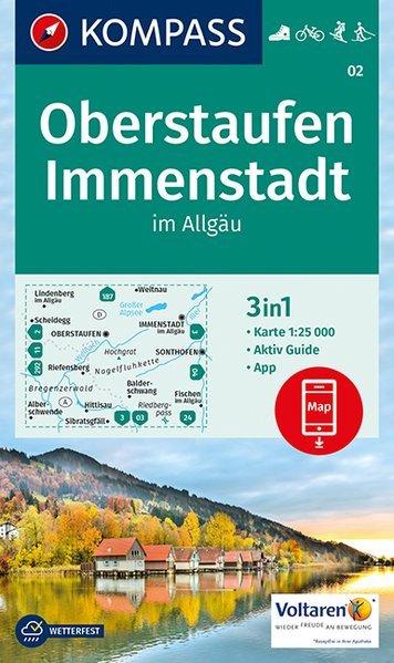 KP-02  Oberstaufen - Immenstadt | Kompass wandelkaart 9783990443347  Kompass Wandelkaarten   Wandelkaarten Beierse Alpen en München