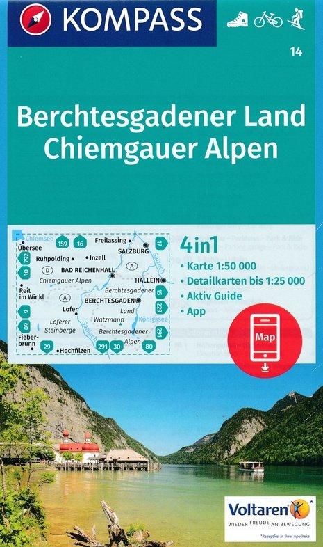 KP-14  Berchtesgadener Land Chiemgau | Kompass wandelkaart 9783990443354  Kompass Wandelkaarten Kompass Duitsland  Wandelkaarten Beierse Alpen