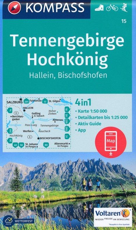 KP-15  Tennengebirge, Bischofshofen, Hallein | Kompass wandelkaart 9783990443804  Kompass Wandelkaarten   Wandelkaarten Salzburg, Karinthë, Tauern, Stiermarken