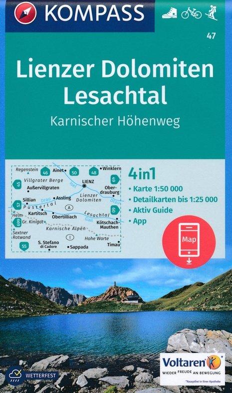 KP-47 Lienzer Dolomiten/Lesachtal | Kompass wandelkaart 9783990443811  Kompass Wandelkaarten   Wandelkaarten Salzburg, Karinthië, Tauern, Stiermarken