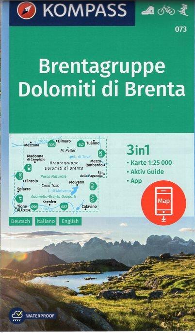 KP-073 Dolomiti di Brenta | Kompass wandelkaart 9783990443866  Kompass Wandelkaarten   Wandelkaarten Zuidtirol, Dolomieten, Friuli, Venetië, Emilia-Romagna
