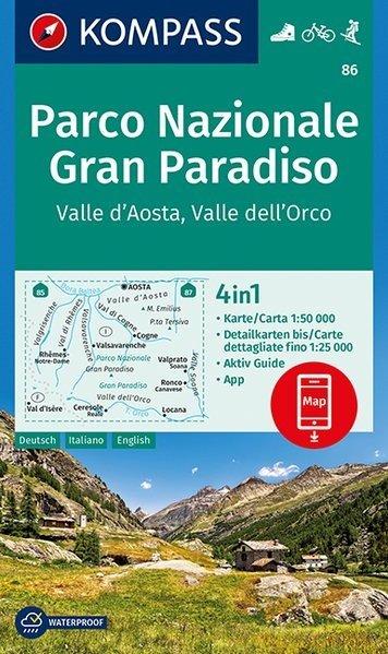 KP-86 Gran Paradiso, Valle d Aosta 1:50.000 | Kompass 9783990443873  Kompass Wandelkaarten   Wandelkaarten Ligurië, Piemonte, Lombardije