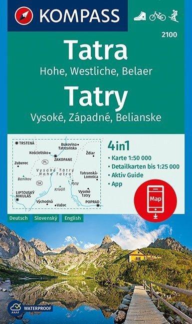 KP-2100 Hohe Tatra | Kompass wandelkaart 9783990443903  Kompass Wandelkaarten   Wandelkaarten Slowakije