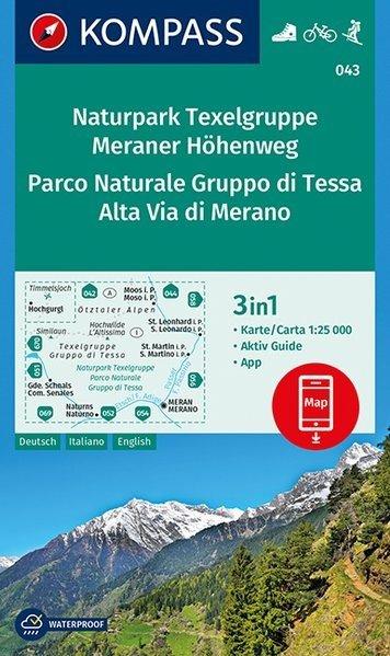 KP-043 Texelgruppe/Meraner Höhenweg | Kompass wandelkaart 9783990443941  Kompass Wandelkaarten   Wandelkaarten Zuidtirol, Dolomieten, Friuli, Venetië, Emilia-Romagna