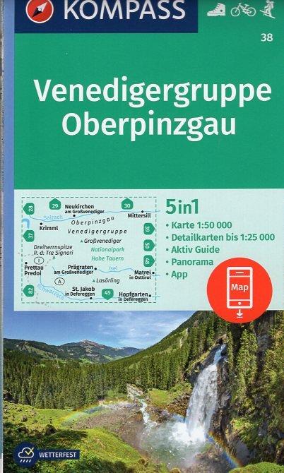 KP-38 Venedigergruppe-Oberpinzgau   Kompass wandelkaart 9783990443989  Kompass Wandelkaarten   Wandelkaarten Salzburg, Karinthë, Tauern, Stiermarken