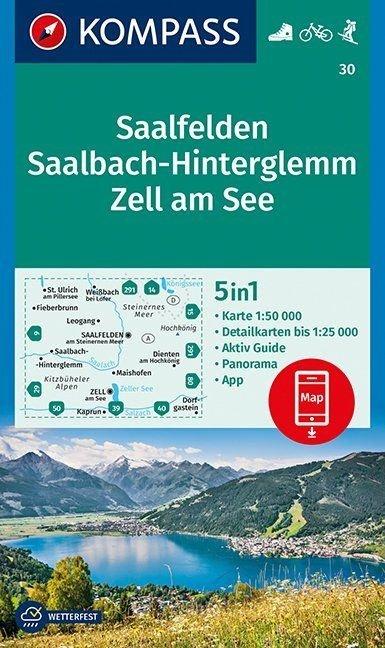 KP-30 Saalfelden, Saalbach, Hinterglemm, Zell am See | Kompass wandelkaart 9783990444054  Kompass Wandelkaarten Kompass Oostenrijk  Wandelkaarten Salzburg, Karinthië, Tauern, Stiermarken