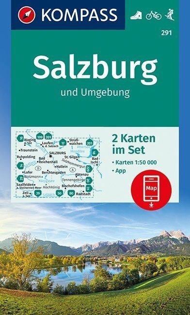 KP-291 Salzburg & omgeving 1:50.000 9783990444115  Kompass Wandelkaarten   Wandelkaarten Salzburg, Karinthë, Tauern, Stiermarken