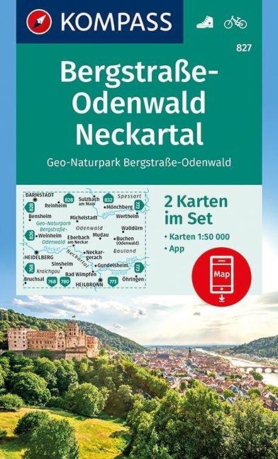 KP-827  Bergstrasse-Odenwald Neckartal | Kompass 9783990444207  Kompass Wandelkaarten   Wandelkaarten Hessen