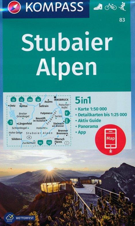 KP-83  Stubaier Alpen - Serleskamm | Kompass 9783990444276  Kompass Wandelkaarten   Wandelkaarten Tirol & Vorarlberg
