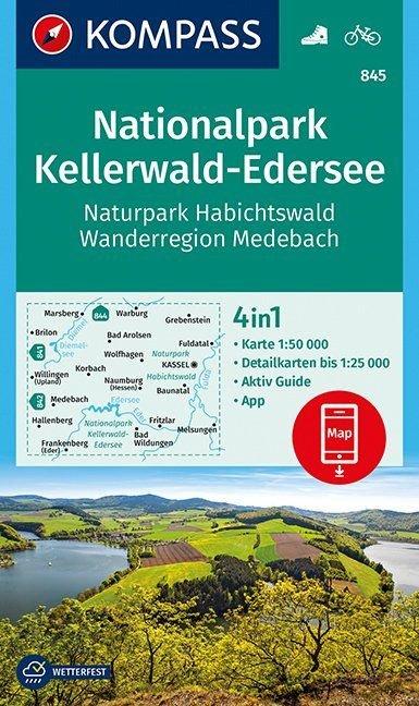 KP-845  NP Kellerwald-Edersee, Habichtswald | Kompass 9783990444290  Kompass Wandelkaarten Kompass Duitsland  Wandelkaarten Noord- en Midden-Hessen, Kassel