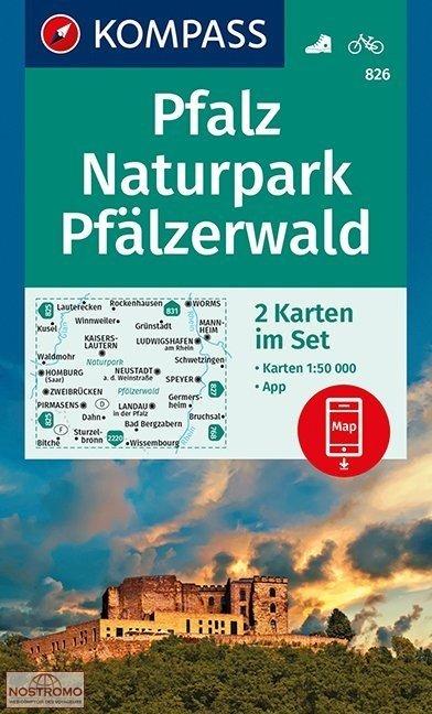 KP-826  Pfalz Naturpark Pfälzerwald | Kompass 9783990444306  Kompass Wandelkaarten   Wandelkaarten Eifel, Moezel, Rheinland-Pfalz
